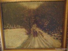 Antik téli  olaj vászon festmény