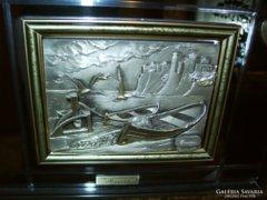 Különleges, 3D-s ezüst táblás kép Arg. 925