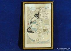 0C145 Antik akvarell japán gésa 1917
