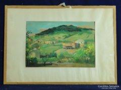 0C236 Friedrich Gábor : Dombos táj akvarell