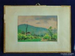 0C237 Friedrich Gábor : Dombos táj akvarell