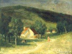 """Sajó Gyula : """"Pécsi táj"""" 1954"""