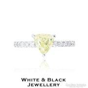 Sárga háromszög gyémánt eljegyzési gyűrű 1,07 karát - Új