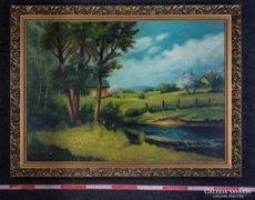 Nagy kedvezménnyel, nagy méretű festmény eladó. Dombos táj.