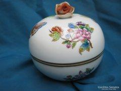 Nagyméretű rózsás herendi porcelán Viktória bonbonier /doboz