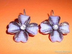 Opál Szív - Virág kristály kézműves  fülbevaló