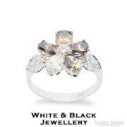 Mesteri konyak és fehér gyémánt gyűrű, fehéraranyból - Új