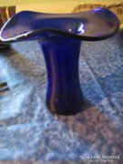 Uv7 Hullámosan ívelt tetejű kék váza