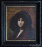 Kárpáti Éva: Kalapos hölgy arcképe-Szecessziós női arckép