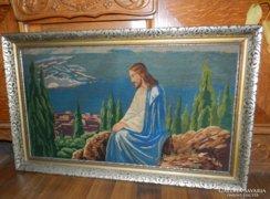 Jézus az olajfák hegyén - gobelin antik keretben