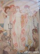Vénusz öltöztetése- szecessziós litográfia