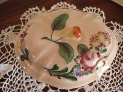 Gyönyörű kézzel festett régi fajansz bonbonier