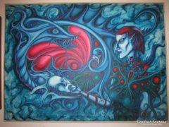 Dóka Attila A.Kód szürrealista olajfestmény vásznon 95x69 cm