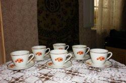 Retro Zsolnay aranyozott szélű teás - cappuccinos készlet