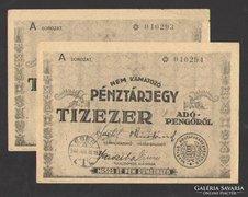 Tízezer pénztárjegy 1946.(2 db sorszámkövető)! (VF+/EF++)!