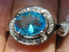 925 ezüst gyűrű 18,3/57,5 mm, kék és leuko topáz