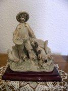 Fiú kutyákkal - kisplasztika ( Capodimonte R. ) - Nem Antik.