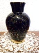 Fekete Üveg Váza - Aranyozott díszítés