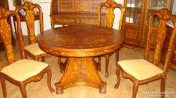 Antik asztal székekkel kézi intarziával eladó