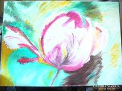 Olajfestmény, tulipán