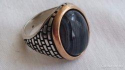 Ezüst nagyméretű pecsétgyűrű (achát)