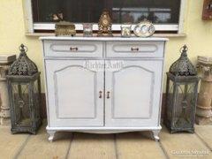 Provence bútor, fehér antikolt félszekrény, trümó, komód Neó