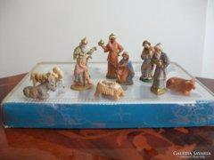 Régi német betlehem kézzel festett Marolin figurák dobozban