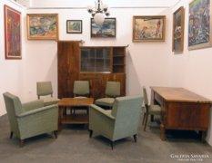 0C777 Antik art deco dolgozószoba garnitúra 9 db