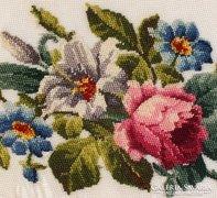 Ovális selyem szita alap, kék virágos