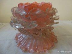 Antik muranoi. rózsaszínű, opalizáló üveg kínálótál
