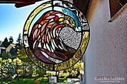 Tiffany Sas madár, Ablakkép, Fali kép. Készítő művésztől.