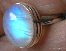 925 ezüst gyűrű, 19,5/61,2 mm szivárványos holdkő