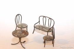 Miniatűr ezüst baba bútorok