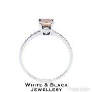 Konyak színű gyémánt eljegyzési gyűrű, fehérarany - Új