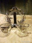 Csodálatos üveg keresztelő készlet ezüst színű diszítéssel