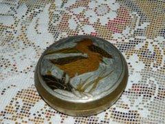 Tűzzománc kacsa páros mintával -  réz bonbonier