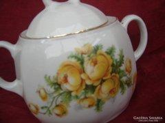 Cukortartó,bonbonier sárga szalmavirágokkal