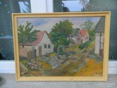 Barabás olaj festmény :  utcakép