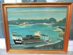 Szabó Miklós képcsarnokos festménye - etikettel : kikötőben