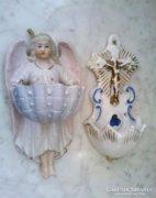Régi jezett porcelán szenteltvíztartó párban
