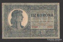 """10 korona 1919. """"P"""".  NAGYON SZÉP!!!  RITKA!!!"""
