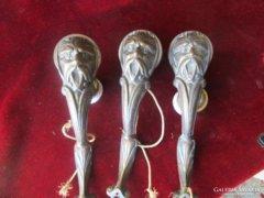 Ember fejes falilámpa lámpa alkatrész bronz 3 db