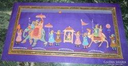 Indiai kézzel festett selyem kép - elefántkaraván