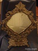 Régi metszett pipere tükör öntött fém angyalos keretben