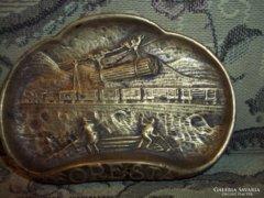 Hatalmas súlyos antik réz/bronz jelenetes hamutál FORESTA