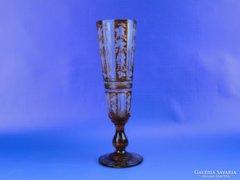 0D720 Antik színezett csiszolt pezsgős pohár