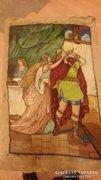 Tristan és Isolda régi nagyméretü gobelin.