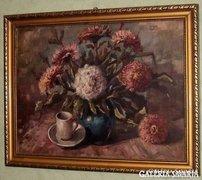 Nagyon jó kvalitású ,nagyméretű régi virágcsendélet !