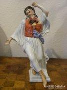 Herendi - Kalapos Táncoló Figura ( Kék Kendős )
