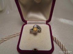 Régi art deco borostyán köves ezüst gyűrű - 835-ös